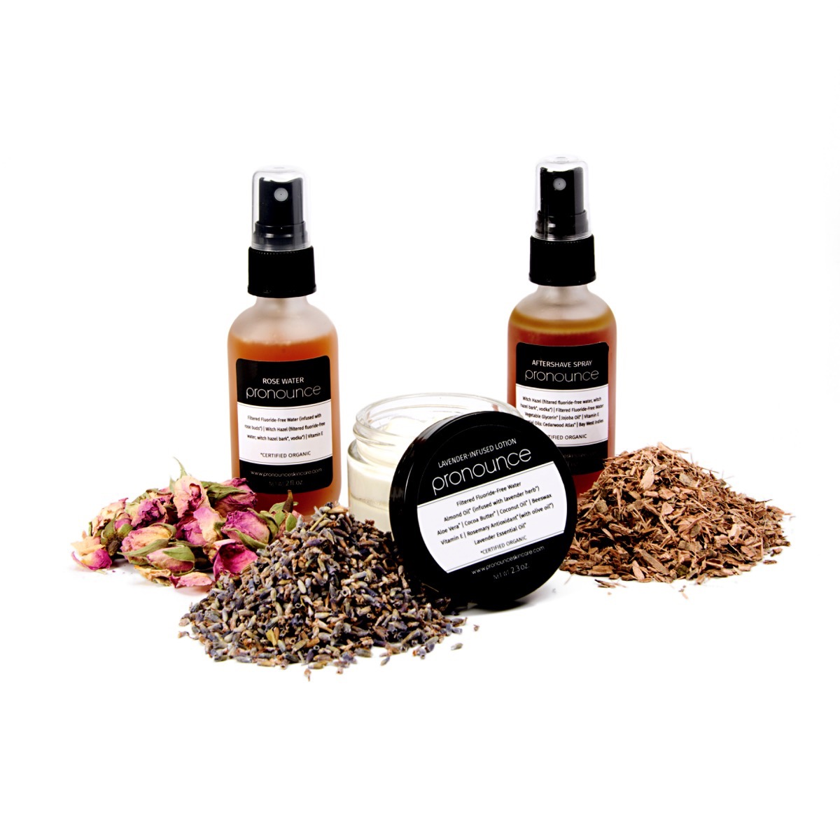 Pronounce Skincare - Using the finest organic herbs, carrier oils, & butters in your skincare products with ingredients you can...pronounce (raw materials) 1200 x 1200